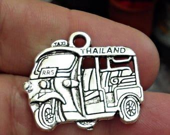 5 pcs. Large TUK TUK Taxi of THAILAND antique silver charm pendants /J1