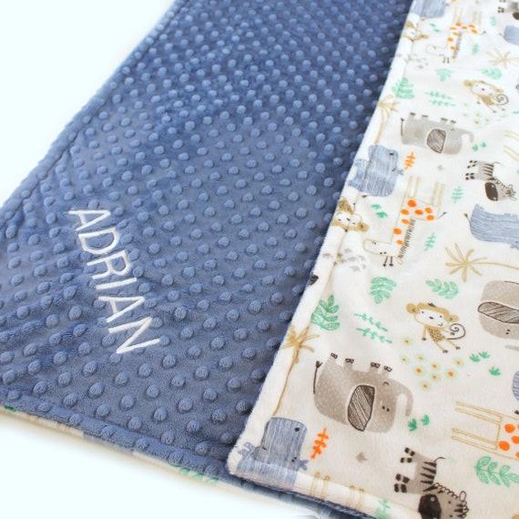 Zoo Animal Blanket, 42 x 55 Crib Bedding, White Blue Minky Baby Blanket, safari Personalized Blanket Boy, Kids Minky Blanket, Throw Blanket