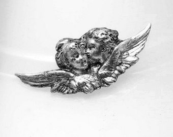 1pcs--Cherubs, Metal Stamping, Antique Silver,20x47mm (B10-12)