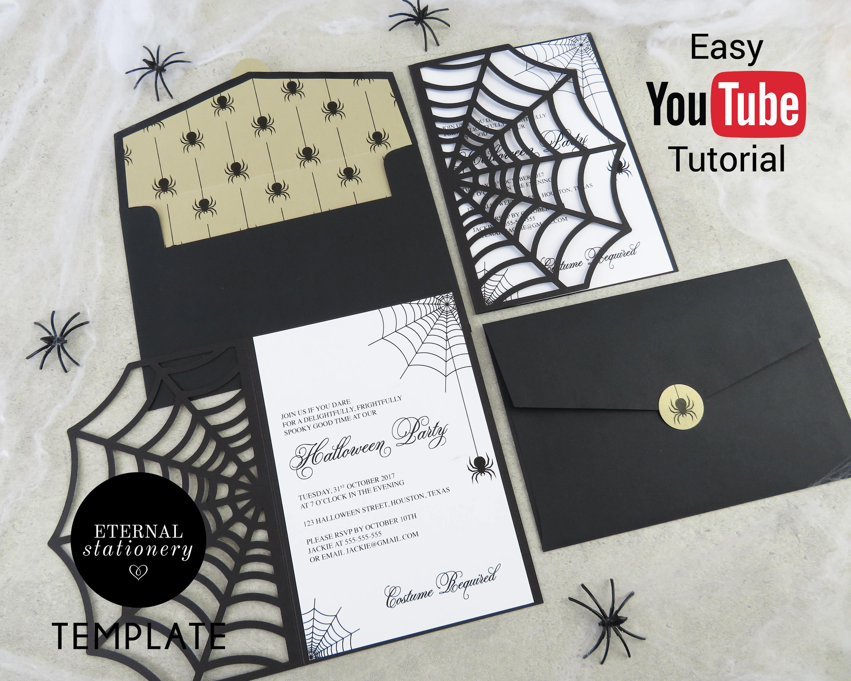 DIY Halloween Cobweb Invitation Editable MS Word Template and