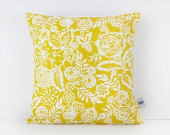 Mustard pillow, Mustard home decor, Mustard yellow decor, Mustard cushion, Floral cushion, Colourful cushions, Mustard Nursery