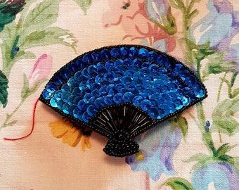Unique Vintage Cobalt Blue Sequinned Fan Design Hair Clip Barrette