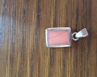 PENDANT STERLING Vintage Silver and Coral Necklace