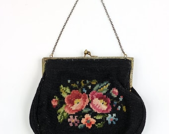 1930s Floral Needlepoint Brass Kisslock Handbag