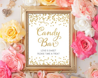 Printable Wedding Sign Confetti Candy Bar 8x10 Gold Glitter Candy Take A Treat Bar Sign DIY Wedding poster Digital INSTANT DOWNLOAD 300dpi