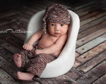Newborn boy sweater knit pant set, newborn boy photo prop, brown, sweater knit baby set with knot hat, photography prop, newborn boy prop