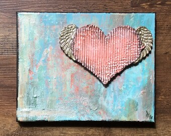 A Mother's Heart Mixed Media Acrylic Art Canvas