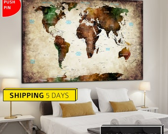 Colorful World Map, Abstract World Map, Wall World Map World Map, World Map Canvas, Large World Map, Map of the World, World Map Print