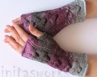 Fingerless Gloves Mittens wrist warmers Violet Purple Pink Gray Dove