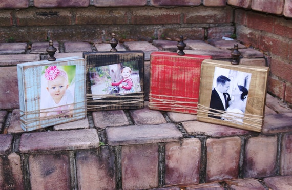 Distressed block picture frames; Wood block frames; handmade home ...