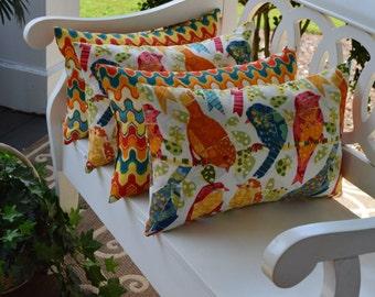 Set of 4 Rectangle / Lumbar Throw Pillows - Orange Blue Yellow Birds & Flame Indoor / Outdoor Decorative Throw Pillows