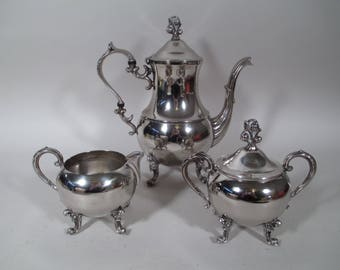 Vintage ENGLISH SILVER Mfg Corp Coffee Tea Pot Sugar Bowl Creamer Set
