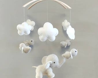 Elephant Baby Mobile - Nursery, Modern, Decor, Mobile, Clouds, Animals, Elephant, Birds, Baby, Ready to ship