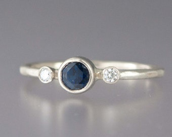 Blue Sapphire and Diamond Engagement Ring - 4mm Center Sapphire with Accent Diamonds Solid 14k White or Yellow Gold