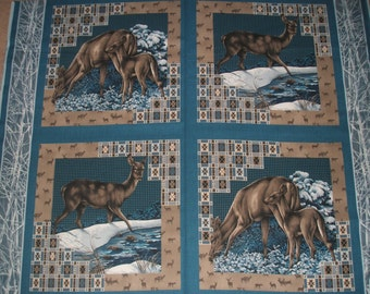 One yard of Four Cotton Cushion Panels - Winter Snow Deer