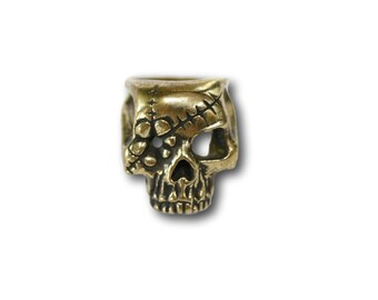 Aged Brass Flower Patch Pirate Skull Sugar Skull Statement Ring, Biker Chick Ring, Rocker Ring, Goth Jewelry, Alternative Jewelry