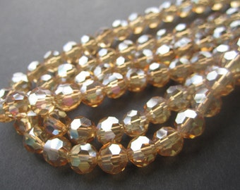 Crystal Bead 8mm Round Disco Beads Gold Champagne AB Faceted Chinese Crystal Beads on an Strand with 70 Beads