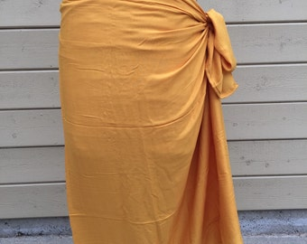 Light caramel  color, mustard, dark soft gold-Pareo-solid color-full and half sized-rayon- sarong, pareau