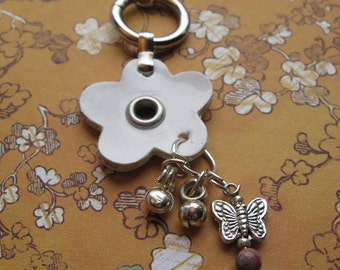 Leather DAISY - Reclaimed and Up-Cycled materials - Zipper Pull - Handbag Charm - Backpack Tag