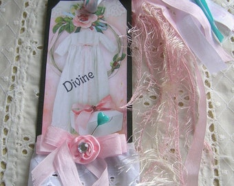 "Beauiful Handmade Vintage Vicotrian  Altered Hang / Gift Tag Large Measeures 3 "" by 7 "" Not Including Ribbons"