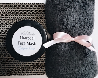 """Charcoal Mask (2oz) with Oversized Bamboo Washcloth (14"""" x 14"""")   LUXURIOUS Partners   Treats Acne, Rosacea, Oily Skin"""