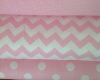 Pink Fabric Half Yard Bundle, Dots and Chevron Fabric, Cut  from the Bolt