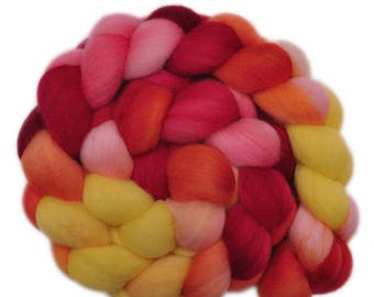 Hand painted roving - Polwarth wool spinning fiber, 4.1 ounces - Flashing Lights