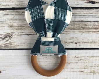 Blue Buffalo Plaid Maple Wood Teether | Teething Toy | Plaid Teether | Gift for Baby Boy | Baby Shower Gift | Organic Baby Toy