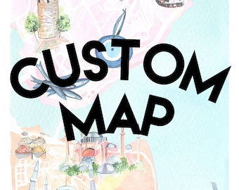Custom Map, Map Painting, Watercolor Map, Map for Wedding, Party, Advertising, or Gift, Invitation Map, Home Decor