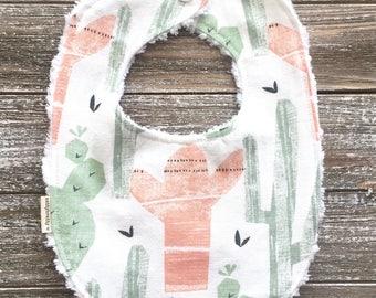 Boho Southwest Style Cactus Bib - Baby Bib - Chenille Teething Bib - Baby Gift - Tribal Baby - Boho Style - Saguaro Southwest Desert Style