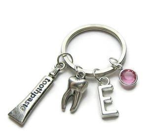 Personalized Dental Keychain, Dental Hygienist Keychain, Dentist Keychain, Tooth Paste Keychain, Tooth Keychain, Dental Jewelry Gift
