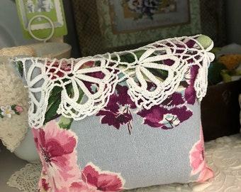 Handmade vintage barkcloth lavender sachet