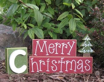 MERRY CHRISTMAS BLOCKS with a christmas tree block for desk, shelf, mantle, holiday, December, xmas, noel, home decor