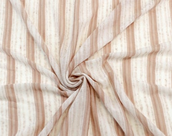 Blush Off White Watercolor Stripe Knit Fabric by the yard - 1 Yard Style 6223