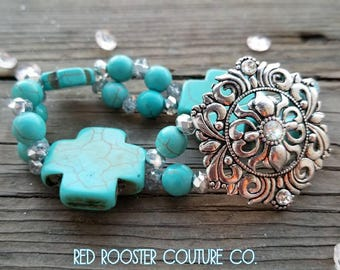 Western Cowgirl Stretch Bracelet stretchy bracelet cowgirl jewelry western jewelry country bracelet turquoise cross concho free shipping