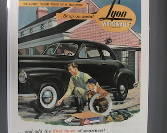 Tires   #132  Lyon Whitewalls    Magazine Ad -  1947