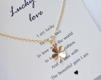 Four Leaf Clover Necklace, gold four leaf clover necklace, clover necklace, lucky necklace, shamrock, good luck gifts