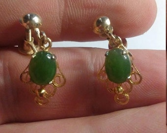 Spring Sale Vintage Costume Jewlery Gold Filled & Jade Earrings