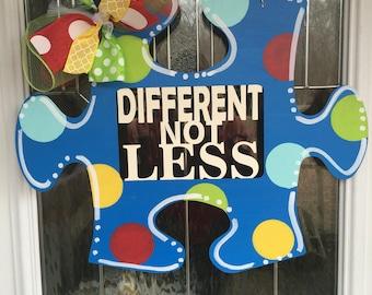 Autism door hanger, autism awareness door hanger, autism, autism speaks, different not less, door hanger, door decor