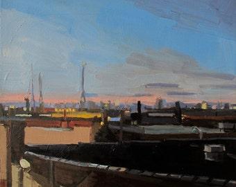 "Brooklyn View, Original Oil painting 12x12"""