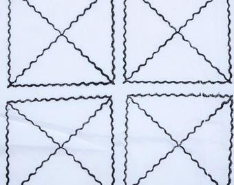 Hand block Square print , Black , 1 Yard