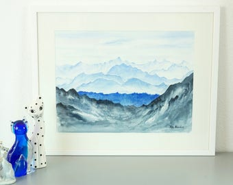 "Swiss Alps Panorama, Original Watercolor Painting, Wall Decor, Print, Size: 30 x 40cm (11.8"" x 15.7"")"