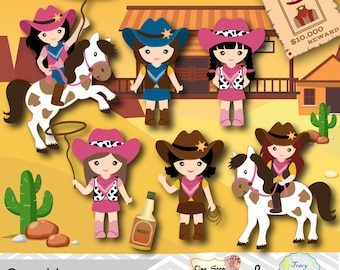 Instant Download Cowgirls Digital Clip Art, Wild West Cowboy Digital Clipart, Little Cowgirl Clipart, Wild West Clip Art, 00183