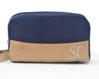 Big Sale 50% Off Groomsmen Gift Dopp Kit Bag Cotton Suede Toiletry Bag Monogram Mens Toiletry Bag Custom Dopp Kit Gift For Dad Wedding Gifts
