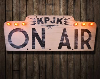 Twin Peaks 'KPJK On Air' Illuminated Sign (Lighted Sign // Vintage // Relic // Patina // Wall Decor // Home Lighting // Got A Light)