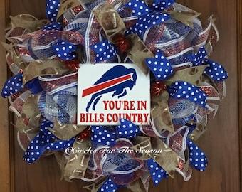 Buffalo Bills wreath, made to order wreath, Buffalo Bills, Buffalo Bills decor, Bills football, football wreath, football decorations