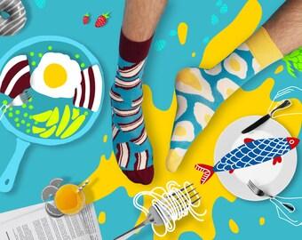 Brekker Socks, Mismatched Socks, Colorful socks for women and men, Bacon Socks, Egg Socks, Patterned  men socks, Women Socks,