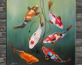 original painting,hand oil painting,impasto,  palette knife painting koi fish-OR459