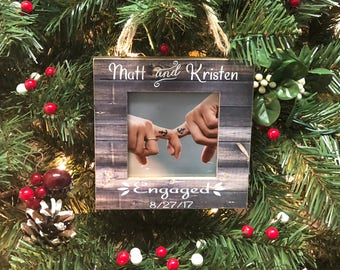 Engagement Frame We're Engaged Personalized Ornament Picture Frame Ornament Christmas Ornament Engagement Ornament Engagement Frame