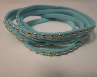 1 m cord Blue Suede studded gold 5 x 2 mm